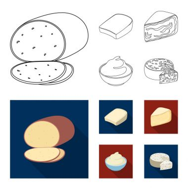 Gruyere, camembert, mascarpone, gorgonzola.Different types of cheese set collection icons in outline,flat style vector symbol stock illustration web.