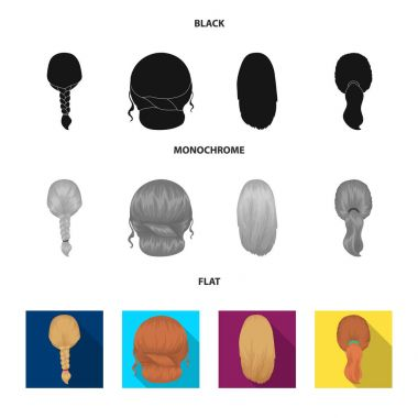 Light braid, fish tail and other types of hairstyles. Back hairstyle set collection icons in black, flat, monochrome style vector symbol stock illustration web.