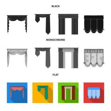 Different types of window curtains.Curtains set collection icons in black, flat, monochrome style vector symbol stock illustration web.