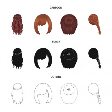 Kara, red braid and other types of hairstyles. Back hairstyle set collection icons in cartoon,black,outline style vector symbol stock illustration web.