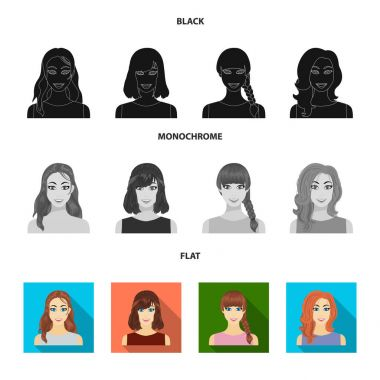 Types of female hairstyles black, flat, monochrome icons in set collection for design. Appearance of a woman vector symbol stock web illustration.