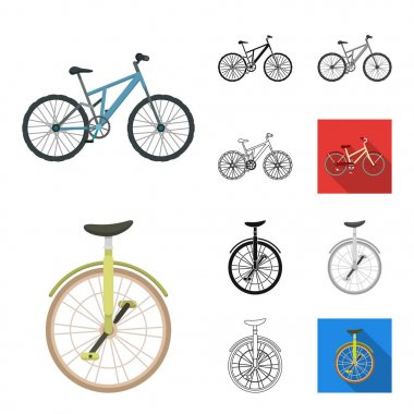 Various bicycles cartoon,black,flat,monochrome,outline icons in set collection for design. The type of transport vector symbol stock web illustration.