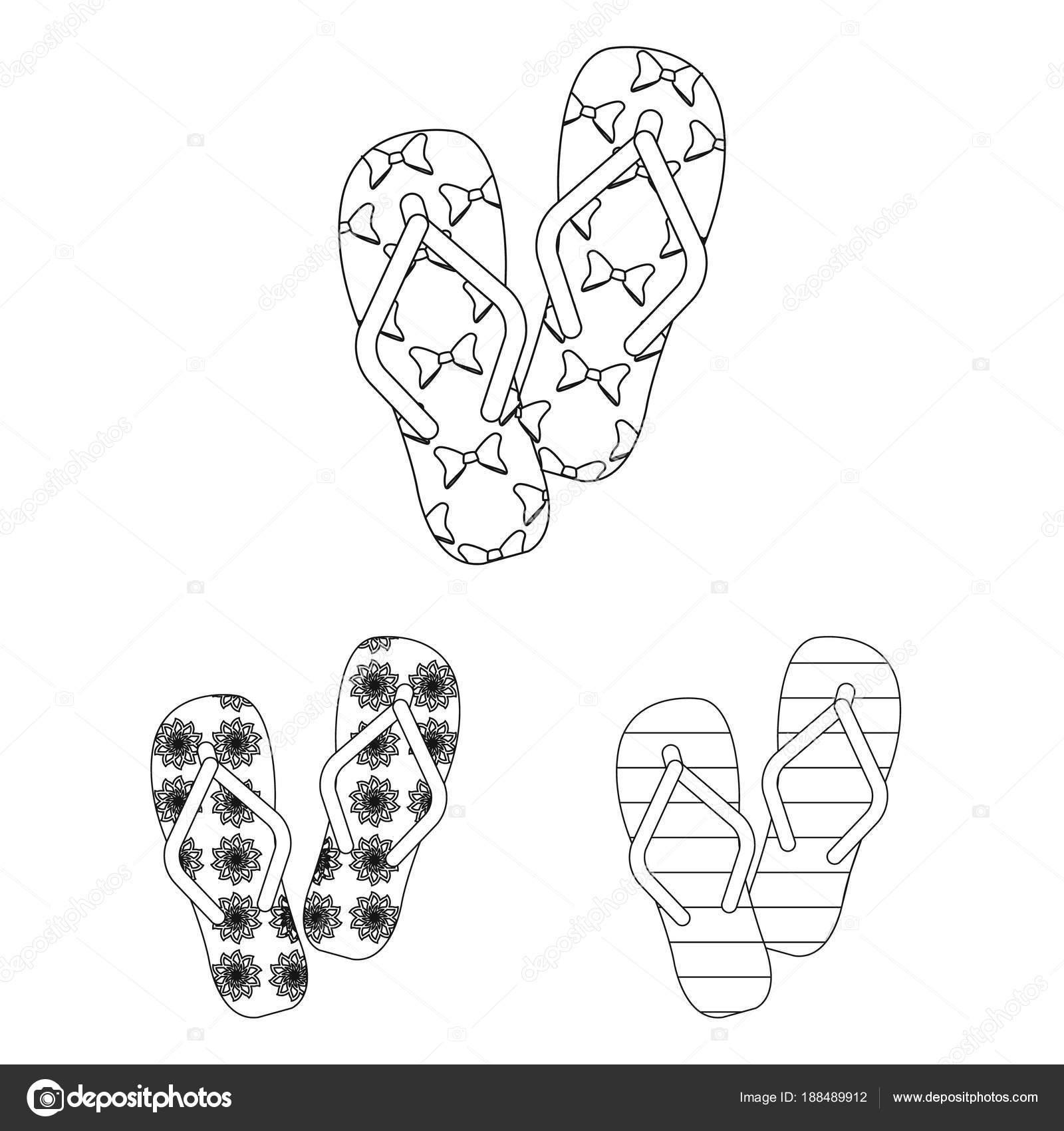Flip-flop describen los iconos de colección set de diseño. Playa ...