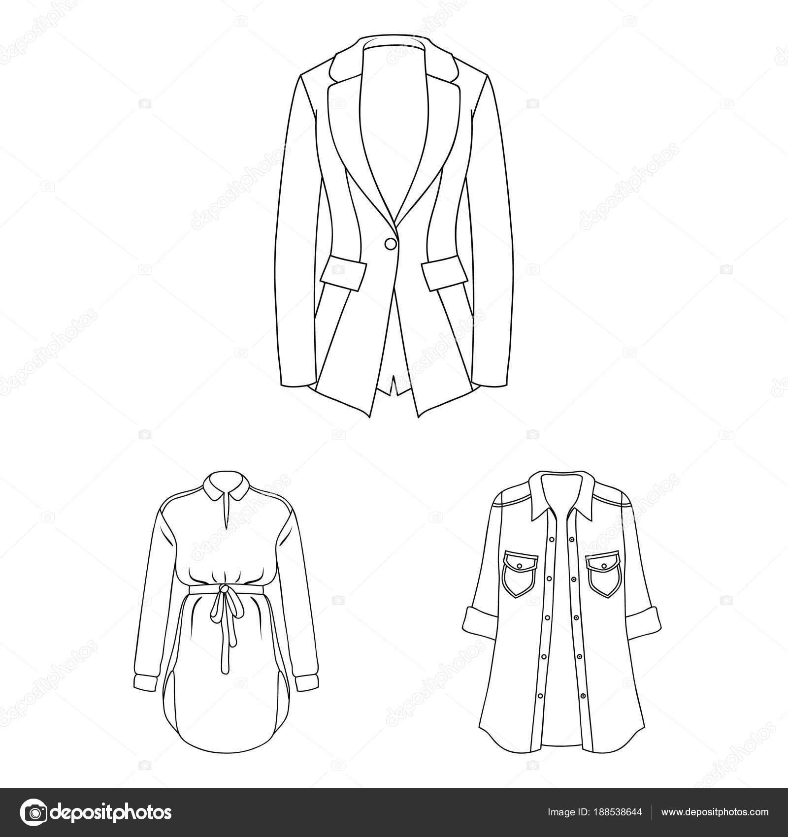 Frauen Kleidung umreißen Symbole im Set Sammlung für Design ...