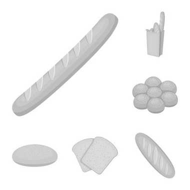 Types of bread monochrome icons in set collection for design. Bakery products vector symbol stock web illustration.