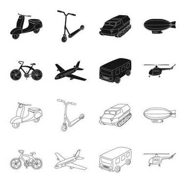 Bicycle, airplane, bus, helicopter types of transport. Transport set collection icons in black,outline style vector symbol stock illustration web.
