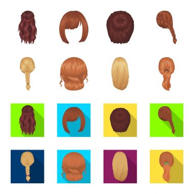 Light braid, fish tail and other types of hairstyles. Back hairstyle set collection icons in cartoon,flat style vector symbol stock illustration web.