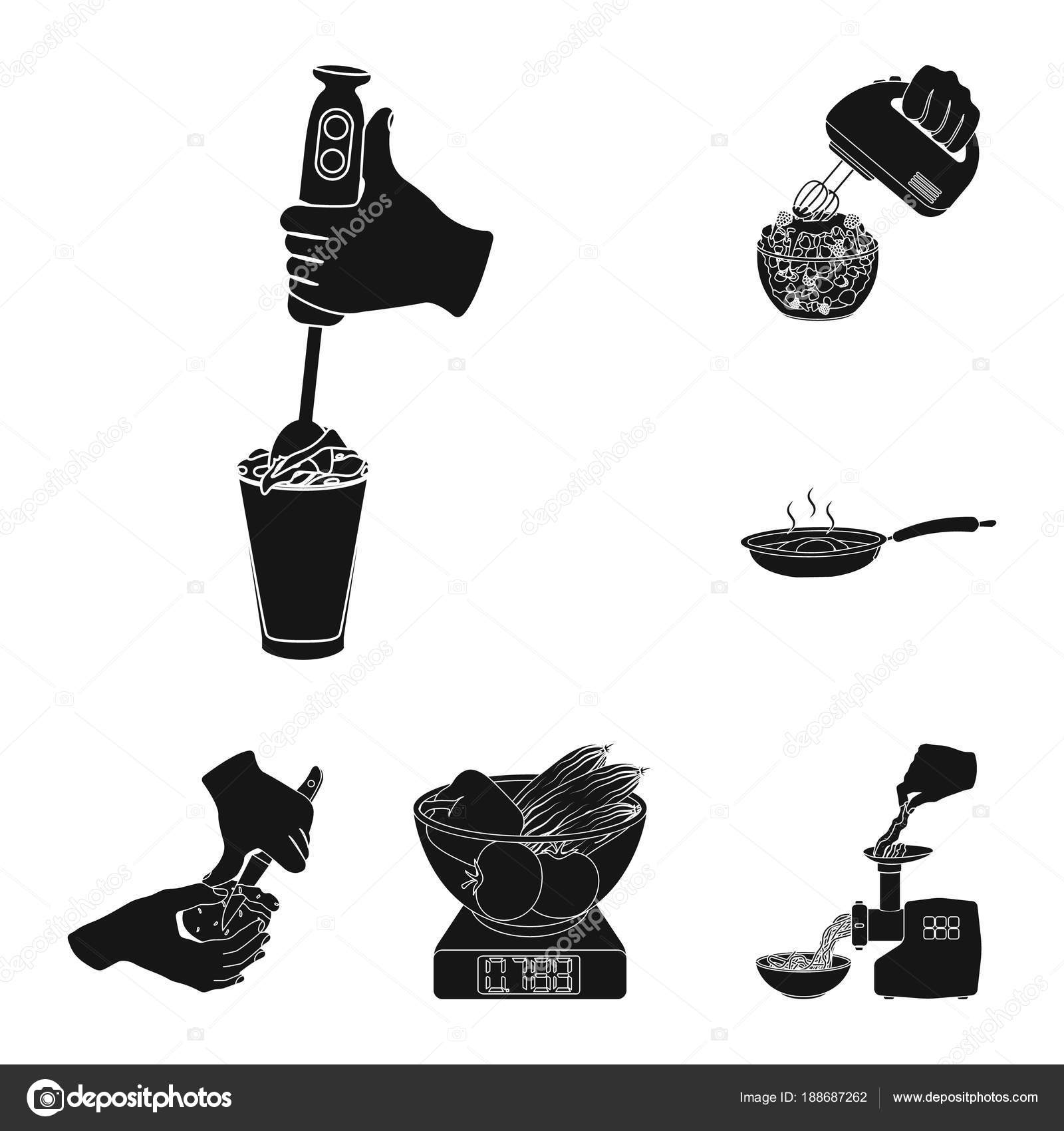 Cocina alimentos negro los iconos de colección set de diseño. Cocina ...