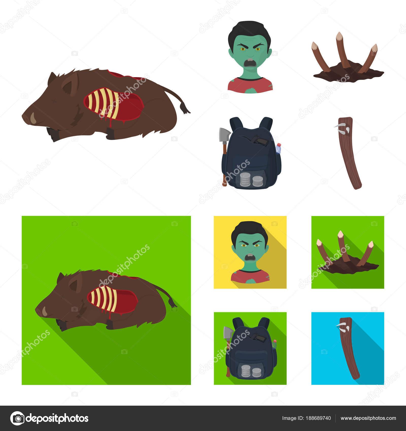 Zombie A Atributy Kreslene Vtipy Ploche Ikony V Nastaveni Kolekce