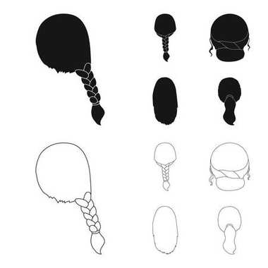 Light braid, fish tail and other types of hairstyles. Back hairstyle set collection icons in black,outline style vector symbol stock illustration web.