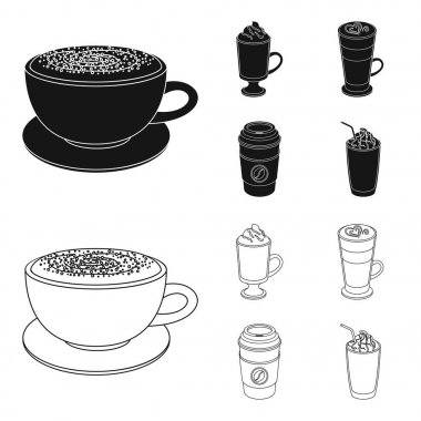 Mocha, macchiato, frappe, take coffee.Different types of coffee set collection icons in black,outline style vector symbol stock illustration web.