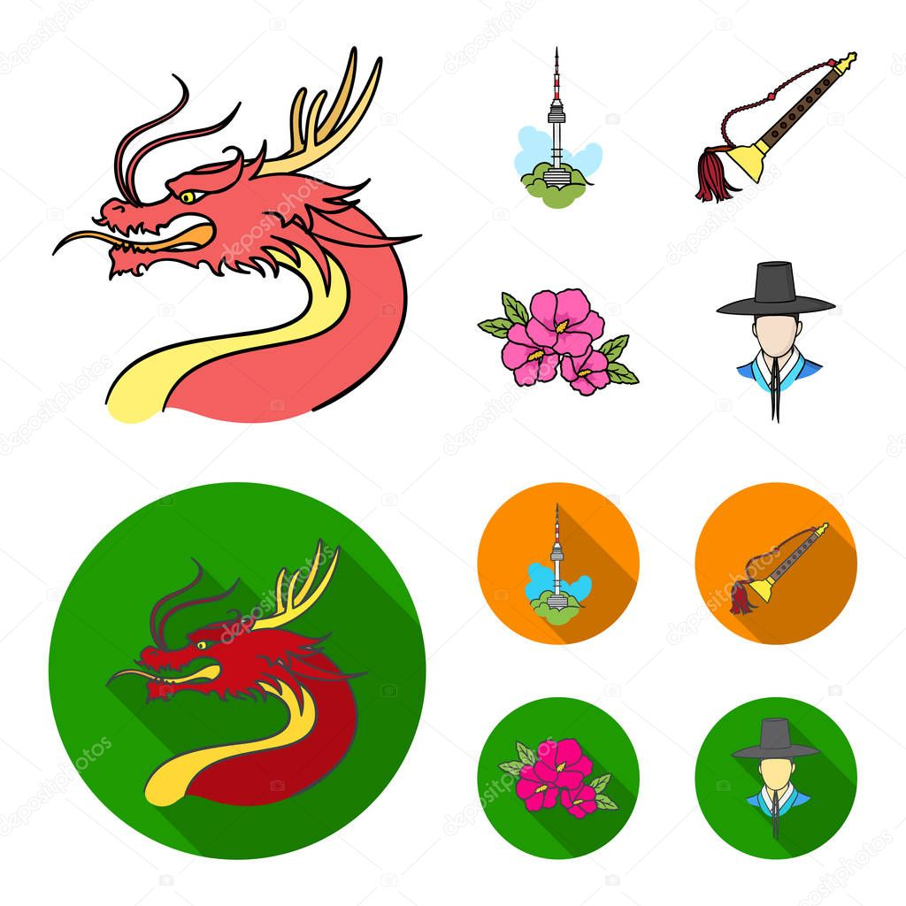Dragon with mustache, Seoul tower, national musical instrument, hibiscus flower. South Korea set collection icons in cartoon,flat style vector symbol stock illustration web.