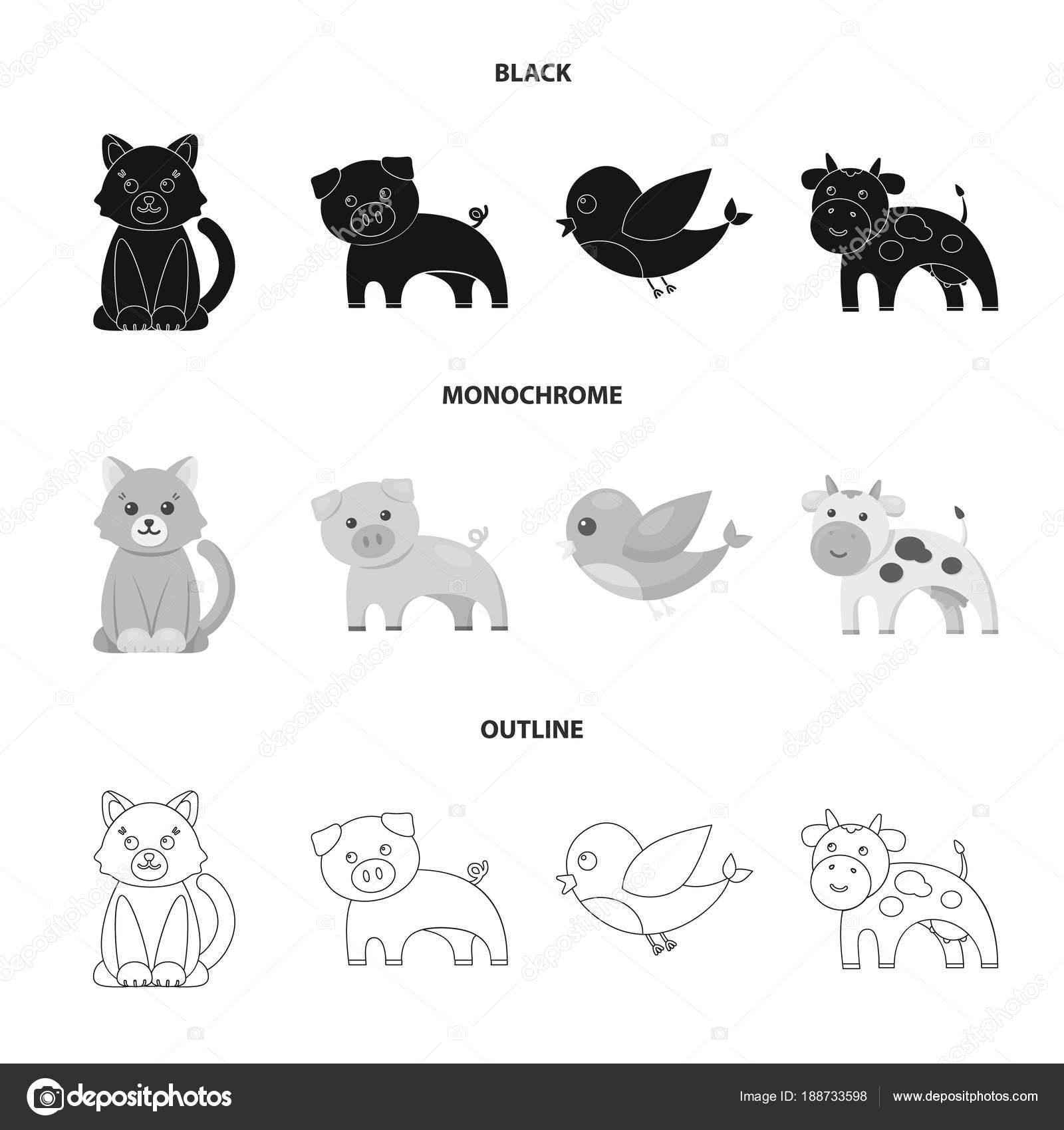 非現実的な黒、白黒、動物のアイコン デザインのセットのコレクションの