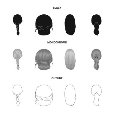 Light braid, fish tail and other types of hairstyles. Back hairstyle set collection icons in black,monochrome,outline style vector symbol stock illustration web.