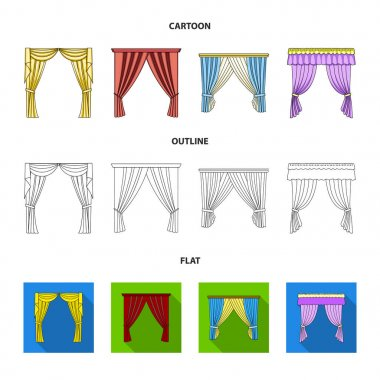 Different types of window curtains.Curtains set collection icons in cartoon,outline,flat style vector symbol stock illustration web.