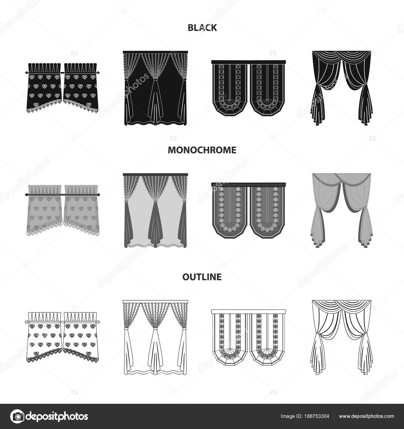 Vorhänge, Stick, Gesimse und andere Web-Symbol in schwarz, Monochrom ...