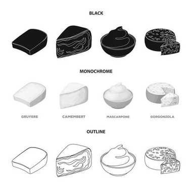 Gruyere, camembert, mascarpone, gorgonzola.Different types of cheese set collection icons in black,monochrome,outline style vector symbol stock illustration web.