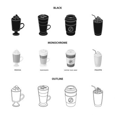 Mocha, macchiato, frappe, take coffee.Different types of coffee set collection icons in black,monochrome,outline style vector symbol stock illustration web.