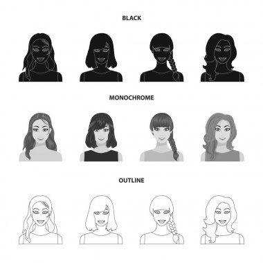 Types of female hairstyles black,monochrome,outline icons in set collection for design. Appearance of a woman vector symbol stock web illustration.