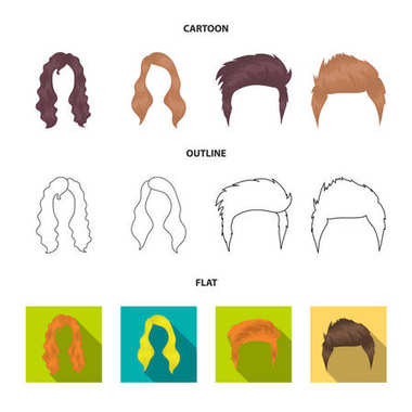 Mustache and beard, hairstyles cartoon,outline,flat icons in set collection for design. Stylish haircut vector symbol stock web illustration.