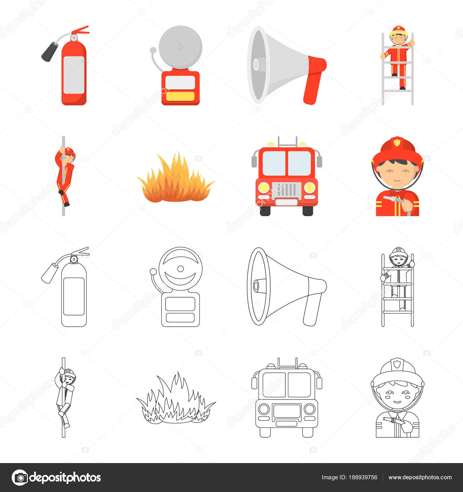 Fireman Flame Fire Truck Departmentset Set Collection Icons In Cartoonoutline
