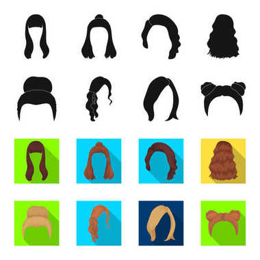 Blond with a bunch, red wavy and other types of hair. Back hair set collection icons in black,flet style vector symbol stock illustration web.