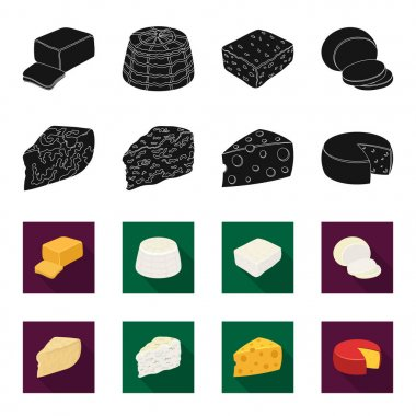Parmesan, roquefort, maasdam, gauda.Different types of cheese set collection icons in black,flet style vector symbol stock illustration web.