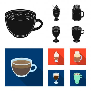Esprecco, glase, milk shake, bicerin.Different types of coffee set collection icons in black, flat style vector symbol stock illustration web.