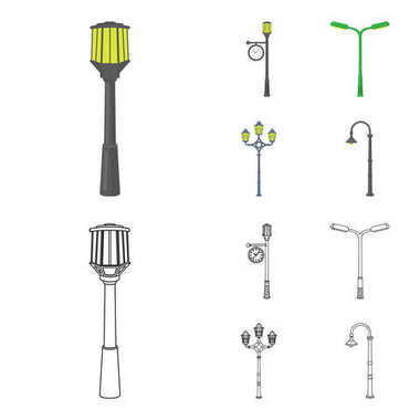 Lamppost in retro style,modern lantern, torch and other types of streetlights. Lamppost set collection icons in cartoon,outline style vector symbol stock illustration web.