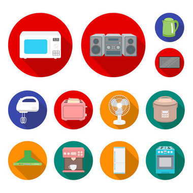 Types of household appliances flat icons in set collection for design.Kitchen equipment vector symbol stock web illustration.
