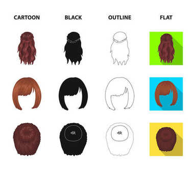 Kara, red braid and other types of hairstyles. Back hairstyle set collection icons in cartoon,black,outline,flat style vector symbol stock illustration web.