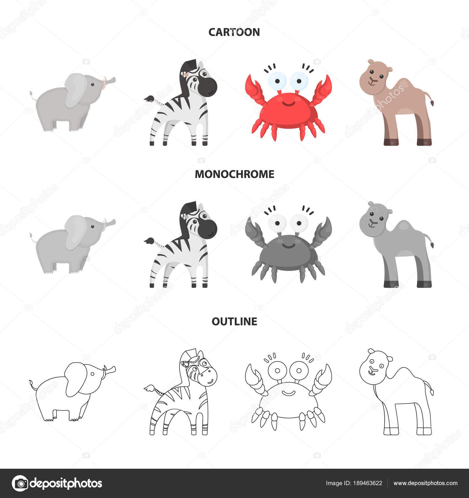 非現実的な漫画、概要、設計のためのセットのコレクションの白黒動物