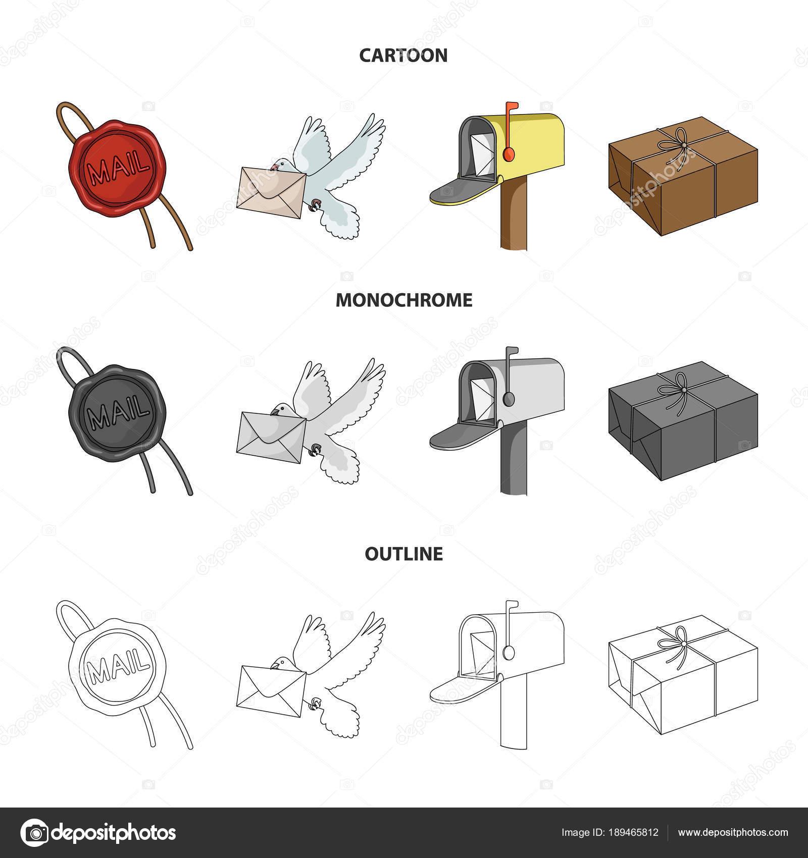 sceau de cire pigeon postale avec enveloppe de bo te aux lettres et de colis courrier et. Black Bedroom Furniture Sets. Home Design Ideas