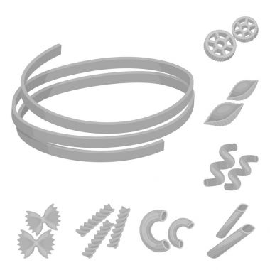 Types of pasta monochrome icons in set collection for design. Figured macaroni for eating vector symbol stock web illustration.