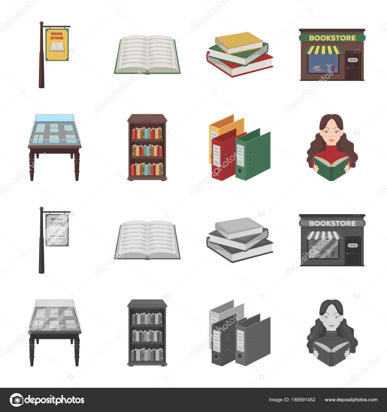 Knihkupectvi A Knihovny Kreslene Vtipy Monochromaticke Ikony V