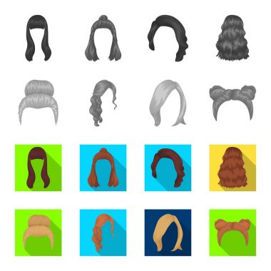 Blond with a bunch, red wavy and other types of hair. Back hair set collection icons in monochrome,flat style vector symbol stock illustration web.
