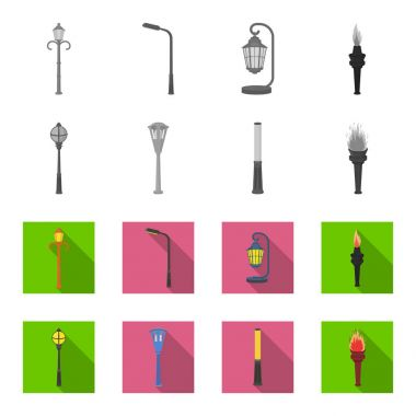 Lamppost in retro style, modern lantern, torch and other types of streetlights. Lamppost set collection icons in monochrome,flat style vector symbol stock illustration web.