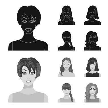 Types of female hairstyles black,monochrom icons in set collection for design. Appearance of a woman vector symbol stock web illustration.