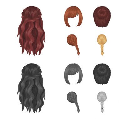 Kara, red braid and other types of hairstyles. Back hairstyle set collection icons in cartoon,monochrome style vector symbol stock illustration web.