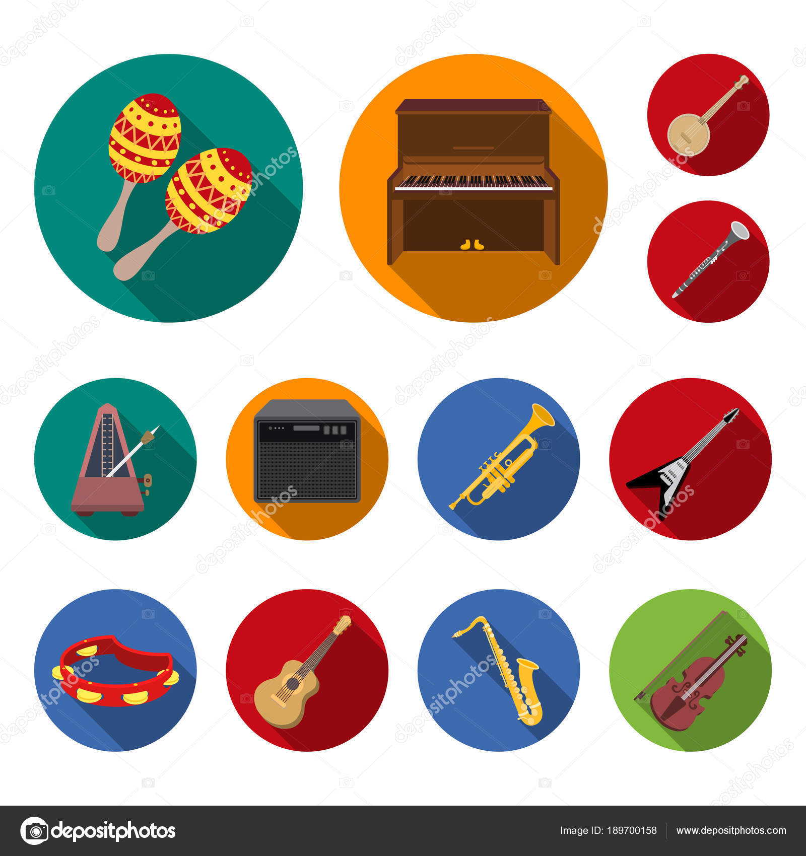Musical Instrument Flat Icons In Set Collection For Design String