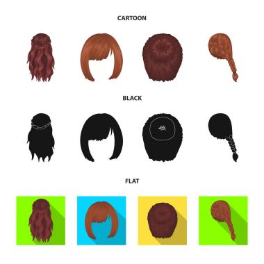 Kara, red braid and other types of hairstyles. Back hairstyle set collection icons in cartoon,black,flat style vector symbol stock illustration web.