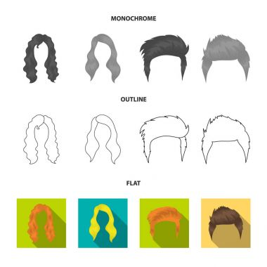 Mustache and beard, hairstyles flat,outline,monochrome icons in set collection for design. Stylish haircut vector symbol stock web illustration.