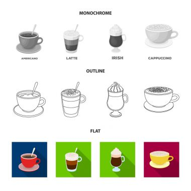 Mocha, macchiato, frappe, take coffee.Different types of coffee set collection icons in flat,outline,monochrome style vector symbol stock illustration web.
