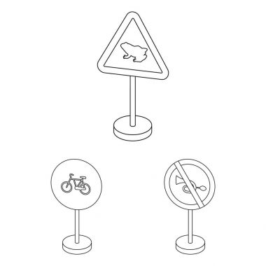 Different types of road signs outline icons in set collection for design. Warning and prohibition signs vector symbol stock web illustration.