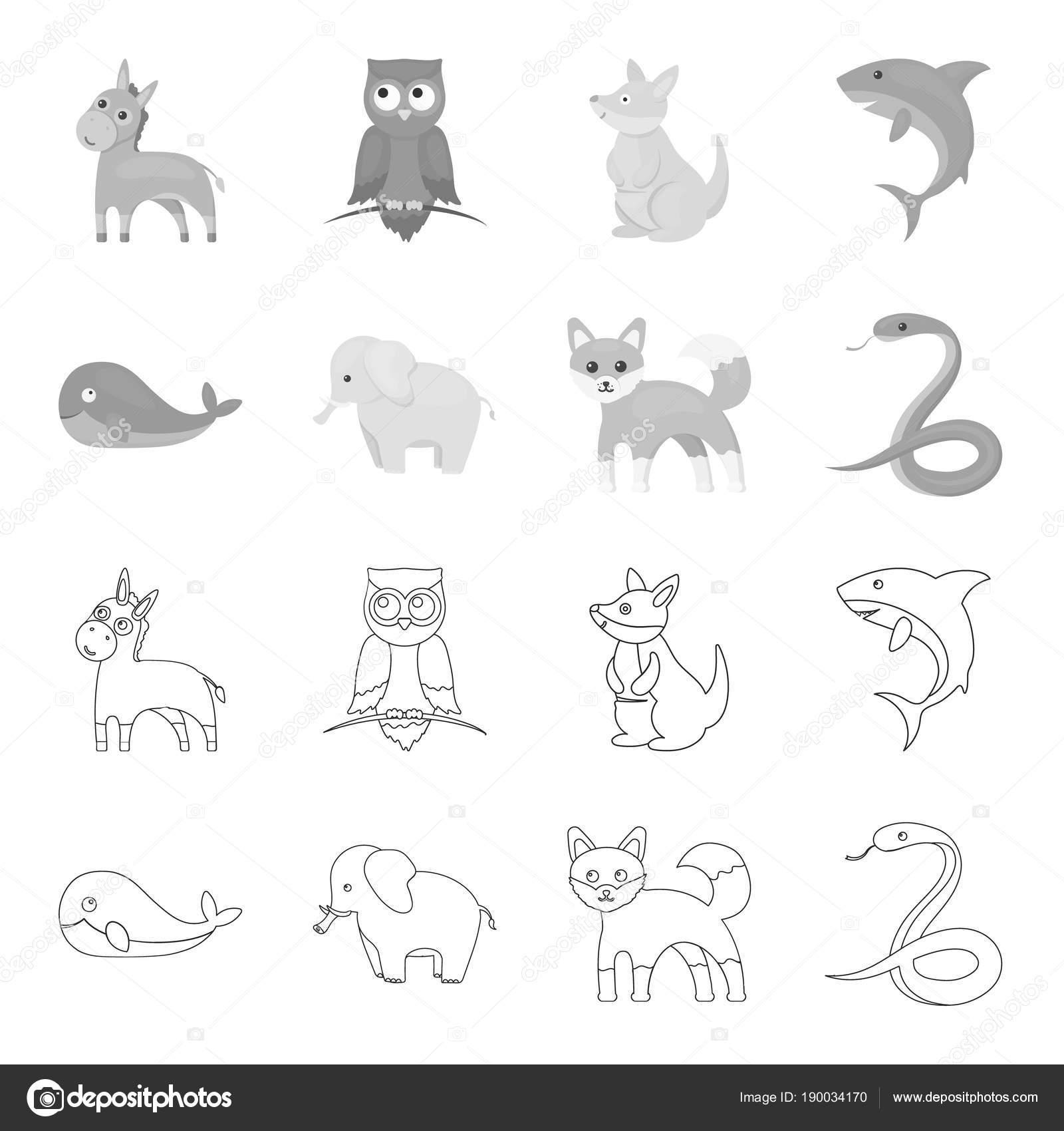 鯨、象、蛇、キツネ。動物は、アウトライン、モノクロ スタイル ベクトル