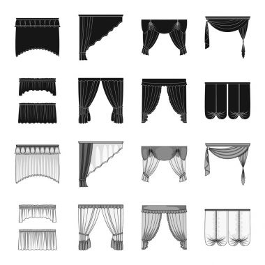 Different types of window curtains.Curtains set collection icons in black,monochrome style vector symbol stock illustration web.
