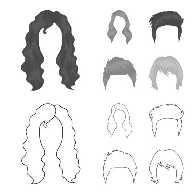 Mustache and beard, hairstyles outline,monochrome icons in set collection for design. Stylish haircut vector symbol stock web illustration.