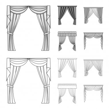Different types of window curtains.Curtains set collection icons in outline,monochrome style vector symbol stock illustration web.