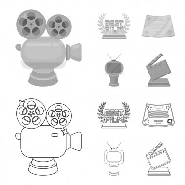 Silver camera. A bronze prize in the form of a TV and other types of prizes.Movie award,sset collection icons in outline,monochrome style vector symbol stock illustration web.