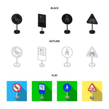 Different types of road signs black,flat,outline icons in set collection for design. Warning and prohibition signs vector symbol stock web illustration.